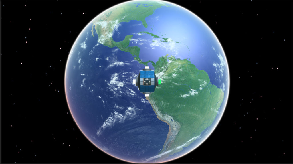 In-game screenshot of the Core Module orbiting around the Earth.