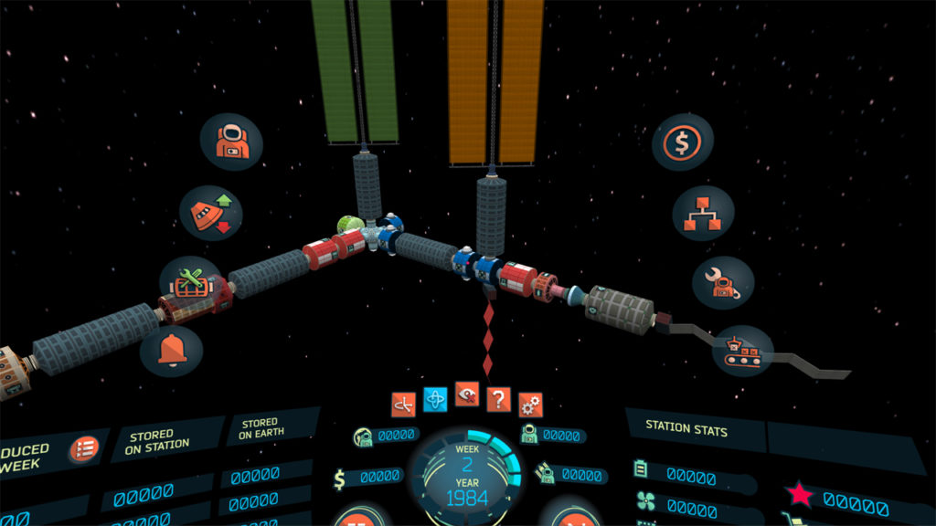 In-game screenshot of the 'High-End Mobile VR' version showing the space station.