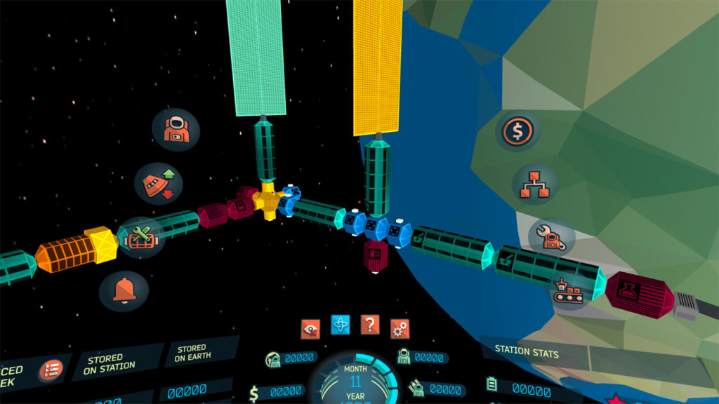 In-game screenshot of the Low-End Mobile VR' version (no longer in development) showing the space station using an 'stylised' art style.