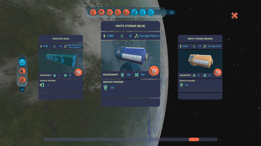The space station modules purchase screen in 'flat' platforms.
